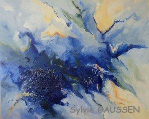 Toujours bleu, technique mixte 60 x 73 cm